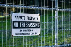 Private Property, No Trespassing Stock Photo