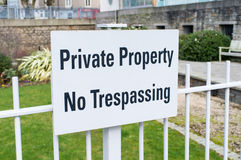 Private Property No Trespassing. A sign indicating that this is private property Royalty Free Stock Image