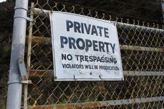 Private Property No Trespassing Sign Stock Photo