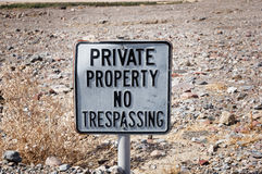 Private Property No Trespassing Sign Stock Photos