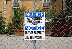 Private Property No Trespassing Sign Stock Images