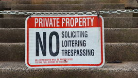Private property, no trespassing, soliciting, loitering Royalty Free Stock Photo