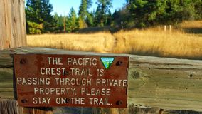 Private property on the pacific crest trail stock photo
