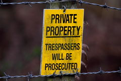 Private property sign. Photograph of a private property sign on a post Royalty Free Stock Images
