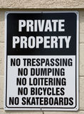 Private Property Sign. Listing Restrictions Stock Images