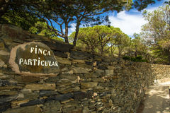 Private property sign on the Costa Brava, Spain royalty free stock image