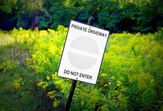 Private Property Sign. At the entrance of a property outside Toronto, Canada Royalty Free Stock Photography
