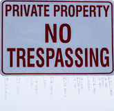 Private property sign with icicles. Stock Photos