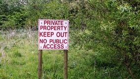 Private property sign. Sign indication it is private property and there is no access to the public Royalty Free Stock Photos