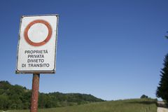 Private Property sign in italian Royalty Free Stock Images