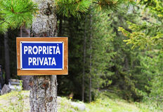 Private property sign in italian language, Dolomites mountains Stock Image