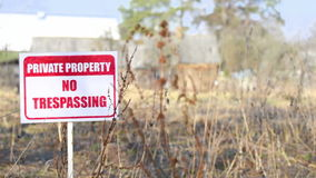 Private property sign on nature background stock video