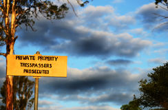 Private property sign no tresspassing warning Royalty Free Stock Photography