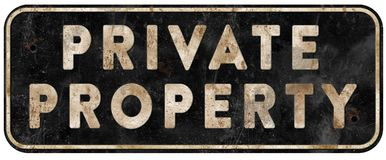 Private Property Sign Old Grunge Weathered Vintage. Metal tin bullet holes danger keep out stock photo