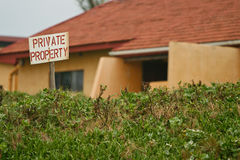 Private Property Sign outside a residential property. A private property sign out side a residential property Royalty Free Stock Image