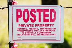 Private Property Sign. On fence Stock Photography