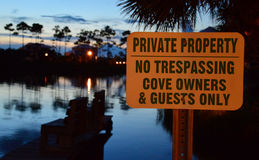 Private property sign. Residential area, private property, select location USA, Alabama, Florida Royalty Free Stock Photography