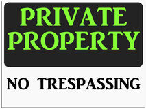 Private property. Sign with text 'private property'  in bright green uppercase letters and below it in black uppercase letters text 'no trespassing', white Stock Image
