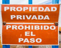 Private property signal. Sign that prohibits the passage in a salt company at the mouth of the Guadalquivir River in Sanlucar de Barrameda, Cadiz Royalty Free Stock Photos