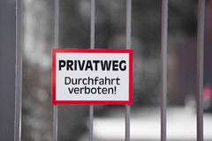 Private Property Warning Sign in German Stock Photography