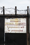 Private property warning sign Royalty Free Stock Photo