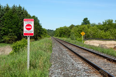 Private Property Warning Sign. Railroad and Bilingual English-French Private Property Warning Sign Stock Photography