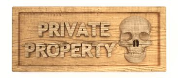 Private property wood sign Stock Image