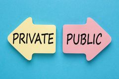Private and Public Concept. PRIVATE and PUBLIC written in paper arrows on blue background. Business concept Stock Photo