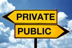 Private or public, opposite signs Stock Images