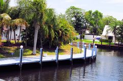 Private quay in South Florida Stock Photos