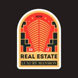 Private real estate vintage vector label. Private real estate vintage isolated label. Modern city construction badge, urban architecture vector illustration Royalty Free Stock Photography