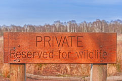 Private Reserved for Wildlife Wooden Sign Stock Image