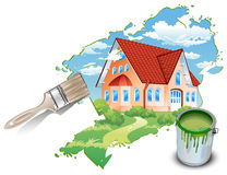 Private residence drawn by paints Royalty Free Stock Image