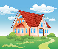 Private residence on hill stock illustration