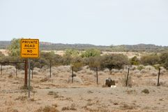 Private Road Sign. In the Bush Stock Image