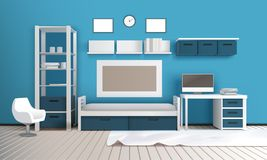 Private Room Realistic Interior. Private room realistic 3c interior with blue wall shelves television set desktop computer frames and carpet vector illustration Stock Photos