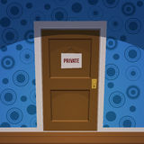 Private Room. Retro cartoon style door with private sign Royalty Free Stock Image