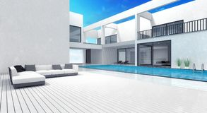 Summer villa residence with pool Stock Photo