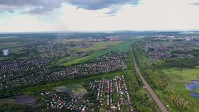 Private Sector With Houses In City District. Aerial view. 4k stock video footage