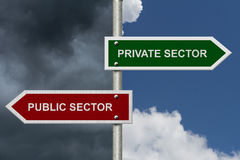 Private Sector versus Public Sector. Concept, Red and Green street signs with blue and stormy sky with words Royalty Free Stock Images
