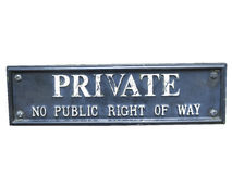 Private sign. Cut out of a Private warning sign Stock Image