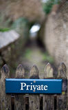 Private sign on a fence Stock Photography