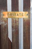 Private sign on gate Royalty Free Stock Images