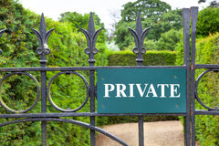 Private sign on a gate leading to a garden. Stock Photography