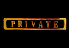 Private sign in gold Royalty Free Stock Photo