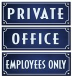 Private Sign Office Employees. Private Sign Office Sign Employees Only Sign Enamel Vintage Rustic Blue Embossed Metal Business royalty free illustration