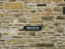 Private - sign on stone fire-wall royalty free stock photos