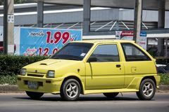 Private Small city car, Daihatsu Mira. CHIANG MAI, THAILAND - MAY 21 2018: Private Small city car, Daihatsu Mira. Photo at road no 121 about 8 km from downtown Stock Image
