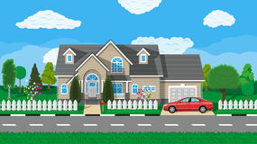 Private Suburban House With Car Trees Road Sky And Clouds Vector Illustration