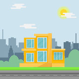 Private suburban house with trees, cityscape, sky and clouds. Vector illustration in flat style Royalty Free Stock Photo
